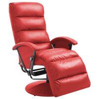 vidaXL Atlošiamas TV krėslas, raudonos sp., dirbtinė oda