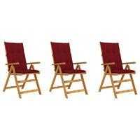 vidaXL Sulankstomos sodo kėdės su pagalvėmis, 3vnt., akacijos masyvas