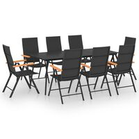 vidaXL Sodo valgomojo baldų komplektas, 9 dalių, juodas ir rudas