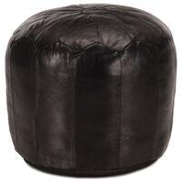vidaXL Pufas, juodos spalvos, 40x35 cm, tikra ožkos oda