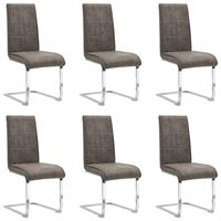 vidaXL Cantilever Dining Chairs 6 pcs Dark Brown Faux Leather (3x282914)