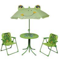 vidaXL Vaik. bistro baldų kompl. su skėčiu nuo saulės, 3d., žalias