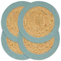 vidaXL Stalo kilimėliai, 4vnt., natūralios ir žalios spalvų, 38cm