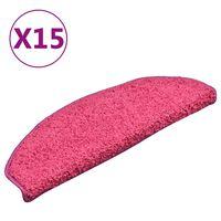 vidaXL Laiptų kilimėliai, 15vnt., rožinės spalvos, 65x21x4cm