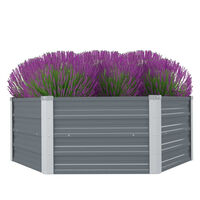 vidaXL Aukštas lovelis augalams, 129x129x46cm, cink. plienas, pilkas