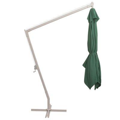 vidaXL Pakabin. skėtis nuo saulės, 300x300cm, alium. kotas, žalios sp.