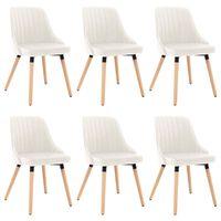 vidaXL Valgomojo kėdės, 6vnt., kreminės spalvos, aksomas (3x323061)