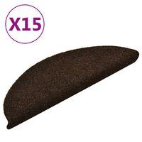 vidaXL Lipnūs laiptų kilimėliai, 15vnt., rudos spalvos, 56x17x3cm