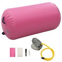 vidaXL Gimnastikos ritinys su pompa, rožinis, 120x75cm, PVC