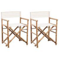 vidaXL Sulankst. režisieriaus kėdės, 2 vnt., bambukas ir stora drobė