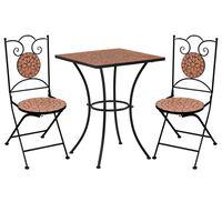 vidaXL Bistro baldų komplektas, 3d., terakotos, keramika, mozaika