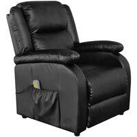 vidaXL Masažinis krėslas, juodos spalvos, dirbtinė oda