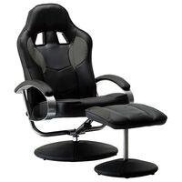 vidaXL Atlošiama žaidimų kėdė su pakoja, pilkos spalvos, dirbtinė oda