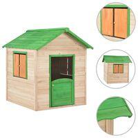 vidaXL Vaikų žaidimų namelis, žalias, eglės mediena