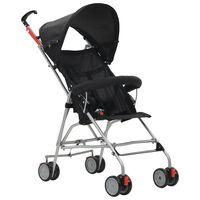 vidaXL Sulankstomas vaikiškas vežimėlis, juodas, plienas