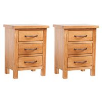 vidaXL Naktiniai staliukai, 2vnt., 40x30x54cm, ąžuolo medienos masyvas
