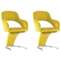 vidaXL Valgomojo kėdės, 2vnt., geltonos spalvos, aksomas