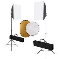vidaXL Fotostudijos komplektas su šviesdėžėmis ir reflektoriumi