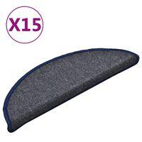 vidaXL Laiptų kilimėliai, 15vnt., tamsiai pilki ir mėlyni, 56x17x3cm