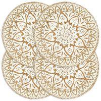 vidaXL Stalo kilimėliai, 4 vnt., baltos sp., 38cm, džiutas, apvalūs