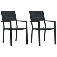 vidaXL Sodo kėdės, 2vnt., juodos spalvos, HDPE, medienos imitacija