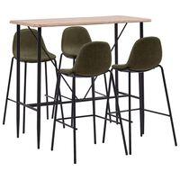vidaXL Baro baldų komplektas, 5 dalių, rudos spalvos, audinys