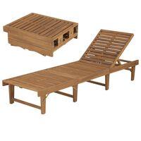 vidaXL Sulankstomas saulės gultas, akacijos medienos masyvas