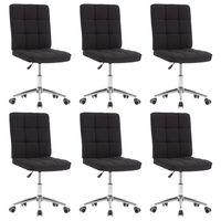 vidaXL Valgomojo kėdės, 6vnt., juodos spalvos, audinys (3x283585)