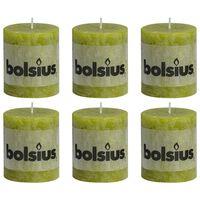 Bolsius Žvakės, 6vnt., samanų žalios, 80x68mm, cilindro formos