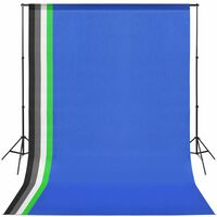 vidaXL Fotostudijos kompl. su 5 spalvotais fonais ir reguliuojamu rėmu