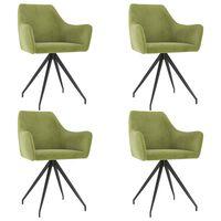 vidaXL Valgomojo kėdės, 4vnt., šviesiai žalios, aksomas (2x323086)