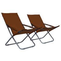 vidaXL Sulankstomos paplūdimio kėdės, 2vnt., rudos spalvos, audinys