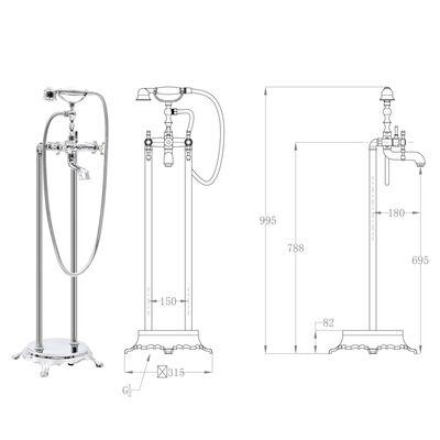 vidaXL Pastatomas vonios maišytuvas, sidabrinis, 99,5cm, plienas