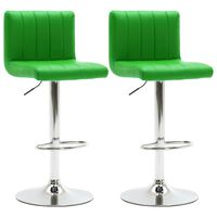 vidaXL Baro taburetės, 2vnt., žalios spalvos, dirbtinė oda