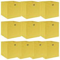vidaXL Daiktadėžės, 10vnt., geltonos spalvos, 32x32x32cm, audinys