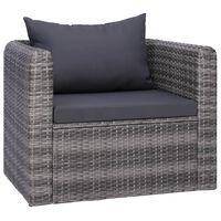 vidaXL Sodo kėdė su pagalvėlėmis, poliratanas, pilka