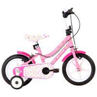 vidaXL Vaikiškas dviratis, baltos ir rožinės spalvos, 12 colių ratai