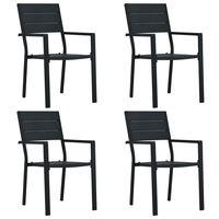 vidaXL Sodo kėdės, 4vnt., juodos spalvos, HDPE, medienos imitacija