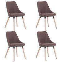 vidaXL Valgomojo kėdės, 4 vnt., rudos, audinys (2x283628)