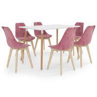 vidaXL Valgomojo baldų komplektas, 7 dalių, rožinis (287242+3x289158)