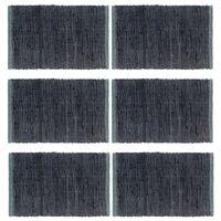 vidaXL Stalo kilimėliai, 6 vnt., antracito spalvos, 30x45cm, medvilnė
