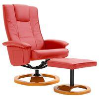 vidaXL TV krėslas su pakoja, raudonos spalvos, dirbtinė oda, pasukamas