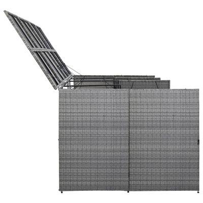 vidaXL Konteinerių stoginė, pilka, 305x78x120cm, ratanas, keturvietė