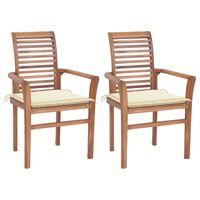 vidaXL Valgomojo kėdės su kreminėmis pagalvėlėmis, 2vnt., tikmedis