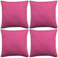 vidaXL Pagalvėlių užvalkalai, 4 vnt., lino imitacija, rožiniai, 50 x 50 cm