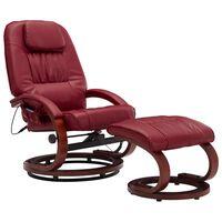 vidaXL Atloš. masažinis krėslas su pakoja, raud. vyno sp., dirbt. oda