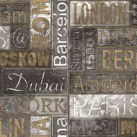 Urban Friends & Coffee Tapetas, pilka ir auksinė, miestų pavadinimai