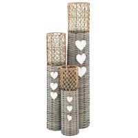 vidaXL Laisvai pastatomi žibintai žvakėms, 3 vnt., pinti