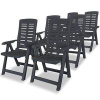 vidaXL Atlošiamos sodo kėdės, 6 vnt., plastikas, pilka sp.
