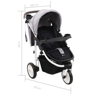 vidaXL Vaikiškas triratis vežimėlis, pilkos ir juodos spalvos